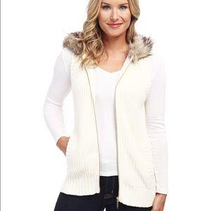 Michael Kors Rabbit fur hooded sweater: XL